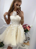 Champagne lace tulle short A line Homecoming Dress   cg10580
