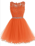 Round Neckline Orange Tulle Beaded Homecoming Dress, Short Party Dress Graduation Dress   cg10581