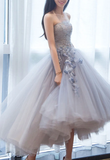 GRAY SWEETHEART TULLE LACE SHORT PROM GOWN, GRAY LACE COCKTAIL DRESS   cg10582