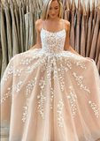 CHAMPAGNE TULLE LACE LONG PROM DRESS CHAMPAGNE EVENING DRESS  cg10583