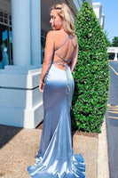 Spaghetti Straps Round Neckline Mermaid Lace Up Back Long Prom Dress    cg10584