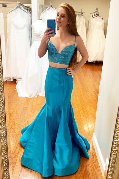Sexy Spaghetti Straps Beaded Two Piece Prom Dress, Mermaid Long Evening Dress   cg10590