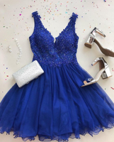 Cute A Line V Neck Tulle Beaded Royal Blue Short Homecoming Dresses with Appliques cg1059