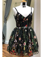 Cute Straps Black Embroidery Floral Short Homecoming Dress cg105