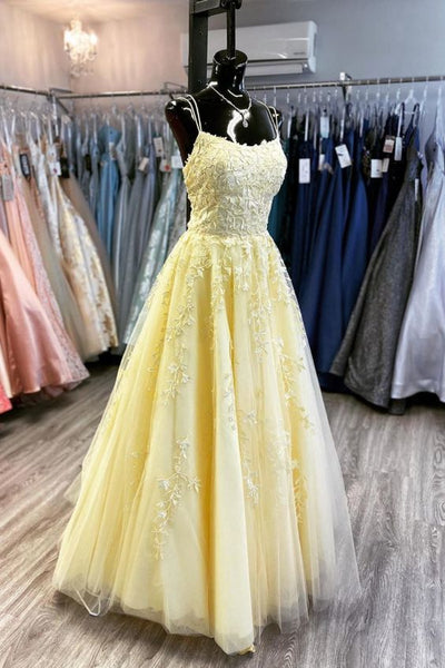 Yellow Lace Long Prom Dress    cg10603