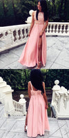 A-Line Split Front Floor-Length Pink Beaded Prom Dress with Lace   cg10606