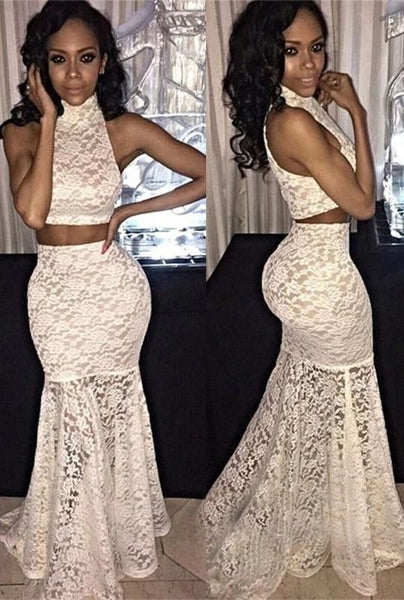 prom dresses, 2 pieces lace prom party dresses, sexy mermaid prom party dresses, lace party dresses, halter prom party dresses   cg10608