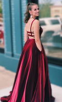 A-line Straps Wine Red Long Prom Dress   cg10622