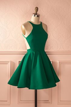 Backless Green Homecoming Dress With Pleats   cg10623