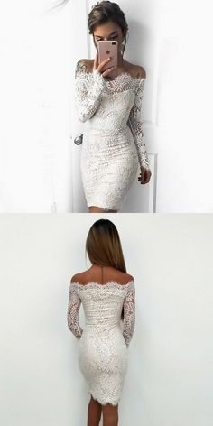 Off-the-Shoulder Long Sleeves White Lace Homecoming Dress   cg10628