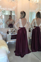 Stunning Long Sleeve Lace Pearls Prom Dresses   cg10634