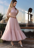 Pink tulle short prom dress    cg10644