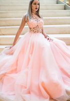 Pink tulle lace one shoulder long prom dress pink lace bridesmaid dress   cg10649