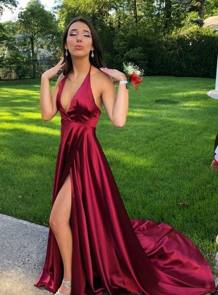 sexy dark red stain long prom dresses with split, cheap backless party dress cg1064