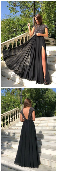 Open Back With Beadings Evening Gowns prom Formal Dress Split Side   cg10654