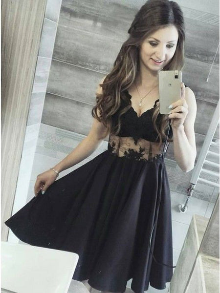 V neck Black Lace Short Homecoming Dress   cg10655