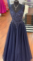 handmade v neck navy blue long prom dress   cg10663