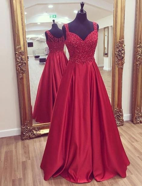 Burgundy A-line Beaded Long Prom Dress    cg10664