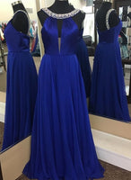 elegant royal blue prom dress with beading    cg10669