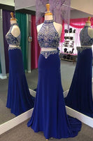 Navy Blue Chiffon Two Pieces Beading See-through Halter Train Long prom Dresses   cg10670