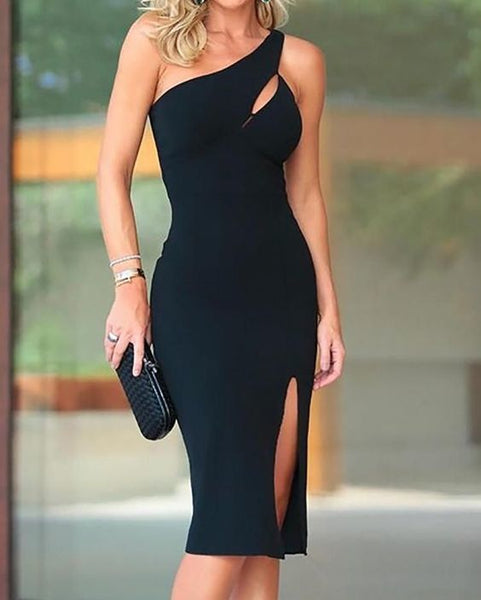 One Shoulder Cutout Slit Party Dress prom Dresses   cg10675