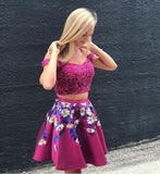 Sexy Off the Shoulder Short Fuchsia Two Piece Floral Homecoming Dresses for Junior   cg10688