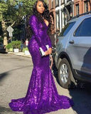 V-neck Neckline purple meramid Prom Dresses    cg10689
