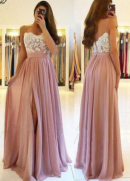 Charming A Line Sweetheart Split White and Blush Lace Long Prom Dresses, Elegant Formal Evening Party Dresses cg1068
