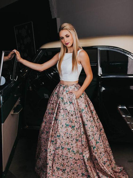 Two Pieces Prom Dresses A-line Scoop Floral Modest Long Prom Dress/Evening Dress cg1069