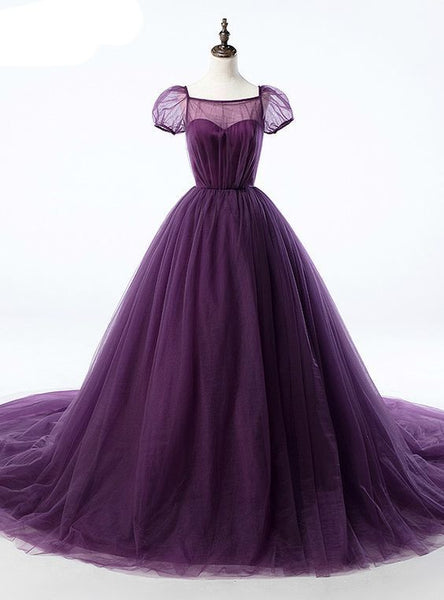 Purple Ball Gown Tulle Short Sleeve Backless Train Prom Dress   cg10707