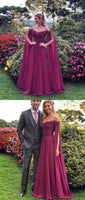 2019 Chic Grape Off The Shoulder long cheap Prom Evening Dresses cg1071