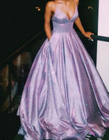 Ball Gown V Neck Lavender Sparkly Prom Gowns   cg10710