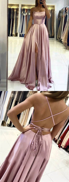Dusty Pink Backless Long Prom Dresses, Dusty Pink Open Back Long Formal Evening Dresses  cg10723