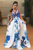 Deep V-Neck Sweep Train Criss-Cross Straps Blue Printed Satin Prom Dress   cg10725