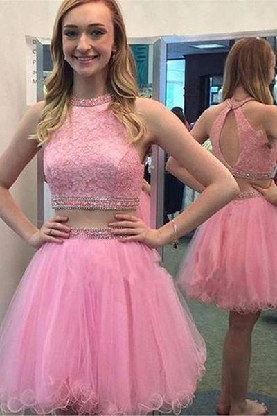 Two Piece Lace Homecoming Dress homecoming dresses   cg10734