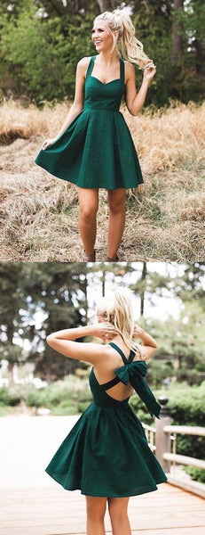 Teal Green Satin Halter With Bowknot Simple Homecoming Dresses   cg10748