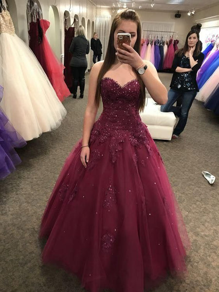 Cute Burgundy Sleeveless Tulle Sweetheart Ball Gown Prom Dresses    cg10749