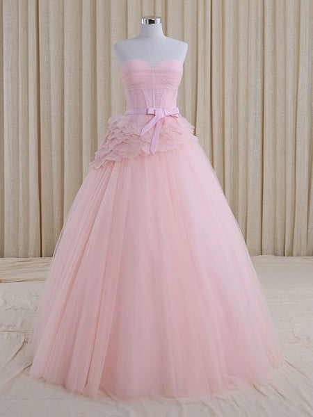 Strapless Blush Pink A-line Whimsical Princess Prom Formal Evening Dress    cg10751