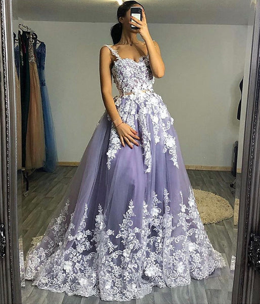 PURPLE LACE LONG PROM GOWN FORMAL DRESS    cg10755
