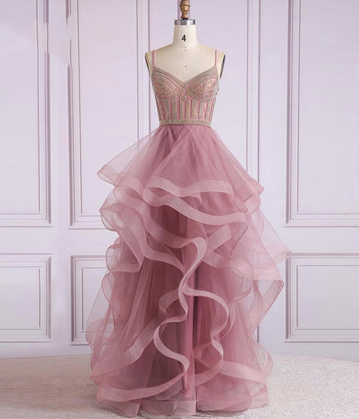 A LINE TULLE BEADS LONG PROM DRESS FORMAL DRESS   cg10758