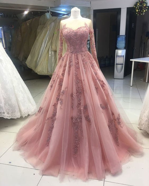 Fashion Tulle Long Sleeve Pink Appliques Quinceanera Ball Gown Prom Dress, Wedding Party Dress  cg10767