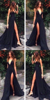 Sexy Evening Dress,Slit Party Dress,Black Slit Prom Dress,Sexy Black Slit Graduation Dress  cg1077