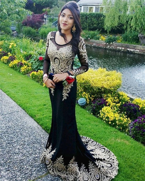 Lace Prom Dress Mermaid Evening Gown Formal ChiffonProm Gown Rhinestone Long Sleeve Evening Dresses   cg10775