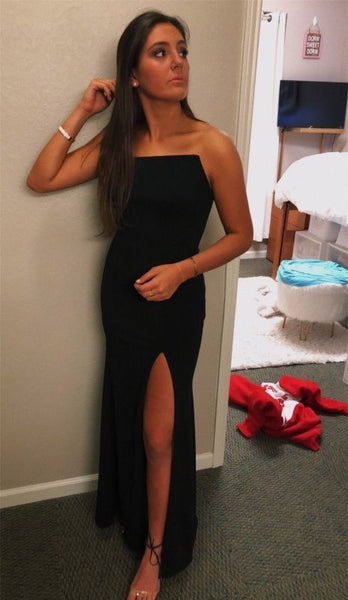 Simple Black Long Prom Dress With Split    cg10776