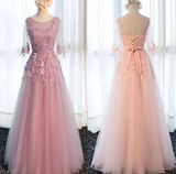 Beautiful Pink Tulle 1/2 Sleeves With Lace Applique Bridesmaid Dress, Long Prom Dress  cg10786
