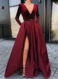 A-Line V-neck Long Sleeves Floor-Length Burgundy Split Prom Dress with Pockets cg1079