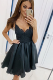 Black v neck lace tulle short dress black short dress Homecoming Dress   cg10820