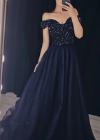 Blue tulle sequins long prom gown formal dress   cg10843