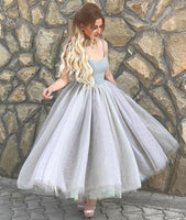 Simple A-Line Spaghetti Straps Dress,Gray Tulle Short Homecoming Dress cg1084