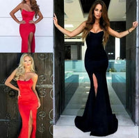 Mermaid Black/Red Front Slit Long Prom Dress, Evening Formal Dress   cg10853